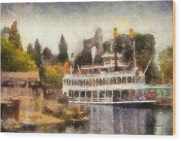 Mark Twain Riverboat Frontierland Disneyland Photo Art 02 Wood Print by Thomas Woolworth