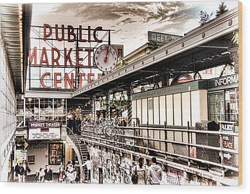 Market Center Wood Print