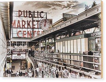 Market Center Wood Print by Spencer McDonald