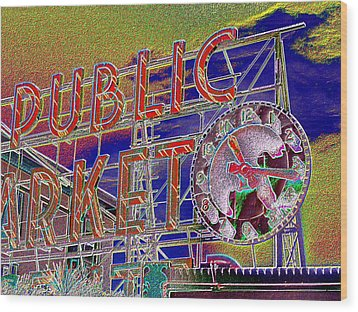 Market Clock 1 Wood Print by Tim Allen