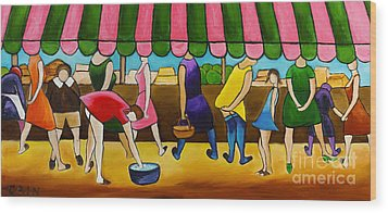 Market Day Under Pink Awning Wood Print by William Cain