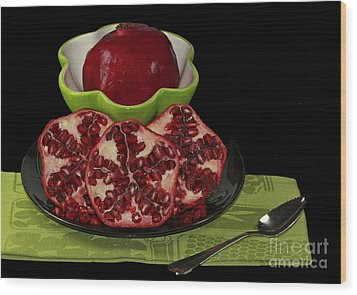 Market Fresh Pomegranate Fruit Wood Print by Inspired Nature Photography Fine Art Photography