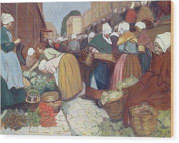 Market In Brest Wood Print by Fernand Piet