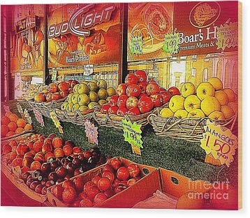 Apples And Plums In Red - Outdoor Markets Of New York City Wood Print by Miriam Danar