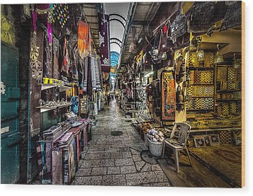 Market In The Old City Of Jerusalem Wood Print