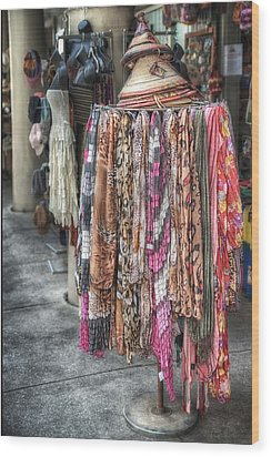 Market Scarves Wood Print by Brenda Bryant