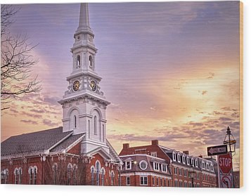Market Square Rooftops Wood Print