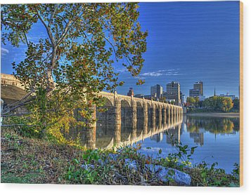 Market Street Bridge Wood Print by Sharon Batdorf