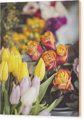 Market Tulips - Paris, France Wood Print