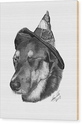 Wood Print featuring the drawing Marlee In Witch's Hat -021 by Abbey Noelle
