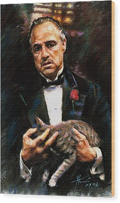 Marlon Brando The Godfather Wood Print by Viola El