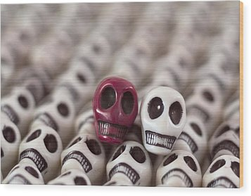 Maroon And White Wood Print by Mike Herdering