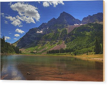 Wood Print featuring the photograph Maroon Bells by Alan Vance Ley