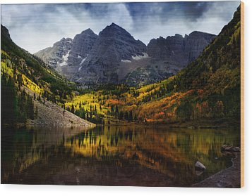 Wood Print featuring the photograph Maroon Bells - An American Icon by Ellen Heaverlo