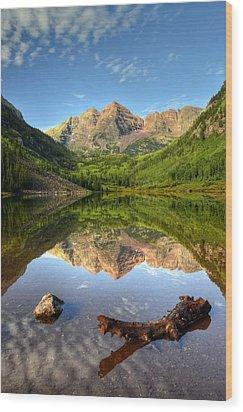 Maroon Bells And Maroon Lake Wood Print