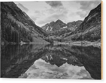 Maroon Bells - Aspen - Colorado - Black And White Wood Print by Photography  By Sai