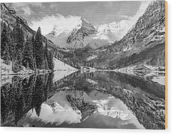 Maroon Bells Bw Covered In Snow - Aspen Colorado Wood Print by Gregory Ballos