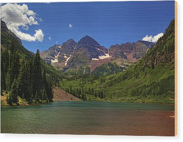 Wood Print featuring the photograph Maroon Bells From Maroon Lake by Alan Vance Ley