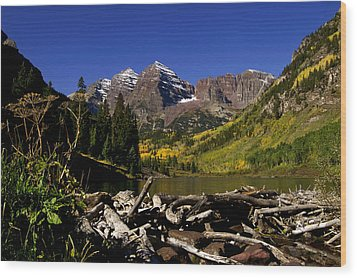 Wood Print featuring the photograph Maroon Bells by Jeremy Rhoades