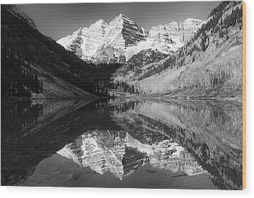Maroon Bells Reflections - Black And White Wood Print