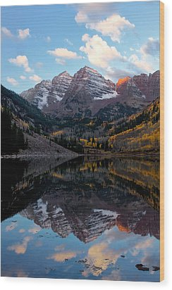Wood Print featuring the photograph Maroon Bells by Ronda Kimbrow