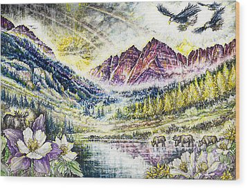 Maroon Bells  Wood Print by Scott and Dixie Wiley