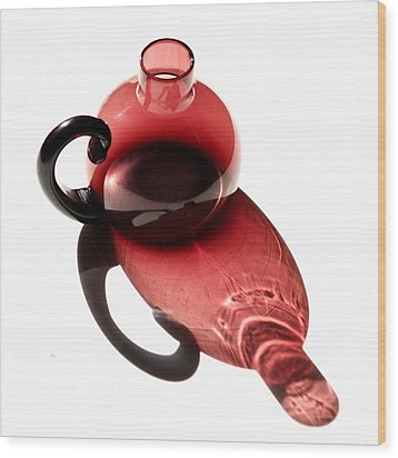 Maroon Bottle Wood Print by Art Block Collections