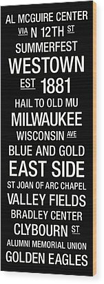Marquette College Town Wall Art Wood Print by Replay Photos