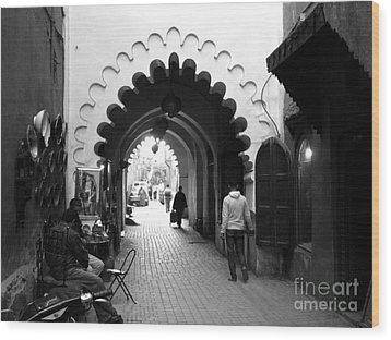 Marrakesh Medina Wood Print by Sophie Vigneault