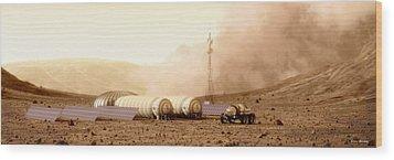 Wood Print featuring the digital art Mars Dust Storm by Bryan Versteeg