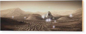 Wood Print featuring the digital art Mars Habitat - Valley End by Bryan Versteeg