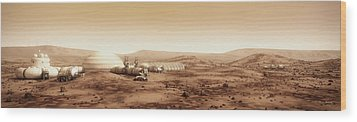 Mars Settlement Landscape With Farm Wood Print by Bryan Versteeg