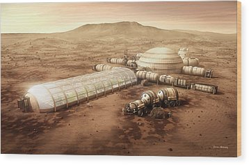 Wood Print featuring the digital art Mars Settlement With Farm by Bryan Versteeg
