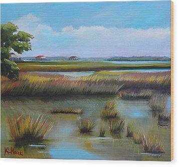 Marsh At Yellow Bluff Wood Print by Karen Macek