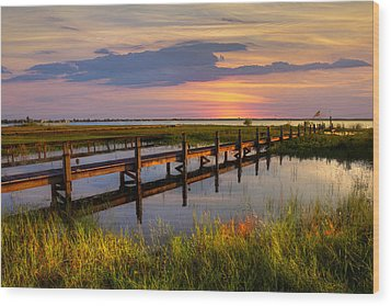 Marsh Harbor Wood Print by Debra and Dave Vanderlaan