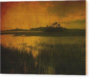 Marsh Island Sunset Wood Print by Susanne Van Hulst