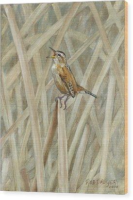 Marsh Melody Wood Print by Rob Dreyer