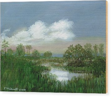 Marsh Sketch Wood Print by Kathleen McDermott