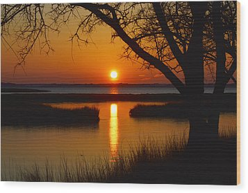 Wood Print featuring the photograph Ocean City Sunset At Old Landing Road by Bill Swartwout
