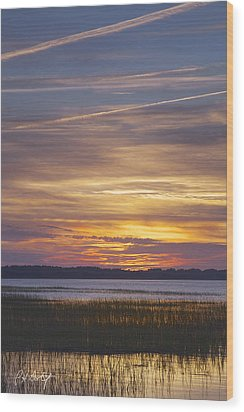 Marsh Sunset Wood Print by Phill Doherty