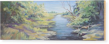 Marsh Waterway Wood Print