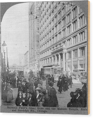 Marshall Fields Great Store Wood Print by Everett