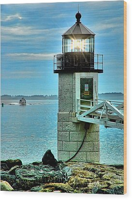 Marshall Point Light And Boat Wood Print by Carolyn Fletcher