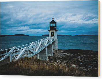 Marshall Point Light At Dusk 2 Wood Print
