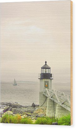 Marshall Point Lighthouse In Maine Wood Print by Denyse Duhaime