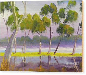 Wood Print featuring the painting Marshlands Murray River Red River Gums by Pamela  Meredith