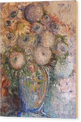 Wood Print featuring the painting Marshmallow Flowers by Laurie L