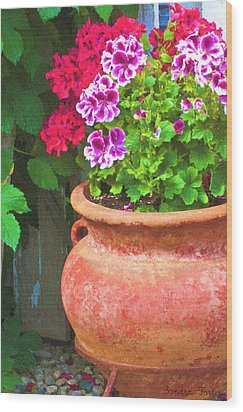 Martha Washington Geraniums In Textured Clay Pot Wood Print by Sandra Foster