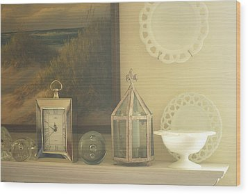 Martha's Fireplace Mantle Wood Print