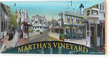 Martha's Vineyard Collage Wood Print by Gerry Robins